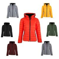 Ladies Womens Quilted Padded Thick Warm Hooded Bubble Puffer Jacket Parka Coat