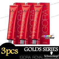 3 x Schwarzkopf IGORA ROYAL Permanent Colour Hair Dye 60ml Golds