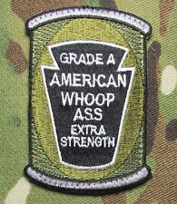 CAN OF AMERICAN WHOOP ASS US ARMY USA MILITARY ISAF MULTICAM HOOK & LOOP PATCH