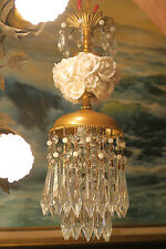 SALE! Porcelain Roses Chandelier Lamp Brass vintage opaline beads Ceiling canopy