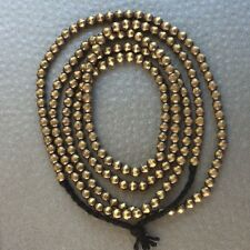 "Antique Gold Tone Brass 3mm Beads Spacers Strand Necklace 30"" Handmade BS02"