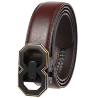 Luxury Men's Real Leather Belt Automatic Buckle Belt Ratchet Strap Gift Jeans
