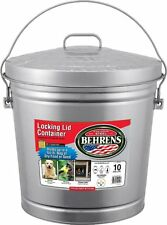 Behrens 6110 Locking Lid Garbage Pail Can, Cover/Bail Handle, 10-Gallon, Steel