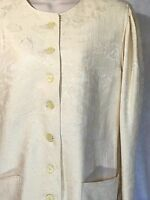 VTG No Brand Name Womens Cream Cotton Linen Blend Blazer Jacket M