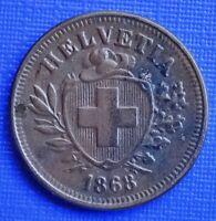 Switzerland 1 Rappen Coin~1868 (B) Helvita+Sheild~KM#3.1~Bronze 1.5g~EF~#303