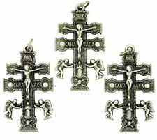 Silver Tone Crucifix Caravaca Christian Cross Pendant, Lot of 3, 1 1/2 Inch
