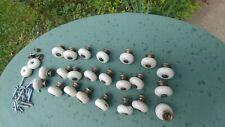 25 Vintage Marbleish White Knobs Drawer Pulls Handles Cupboard Cabinet