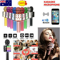 WS-858 Wireless Bluetooth Karaoke Microphone Speaker Handheld Mic USB Player NEW