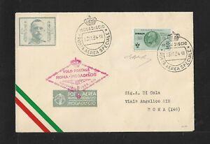 SOMALIA MOGADISCIO-ROME FLIGHT AIRMAIL COVER 1934 CERTIFICATE