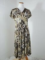 Dress Barn Silky Floral 1940s Inspired Floral Beige Tan Swing Dress Size 14