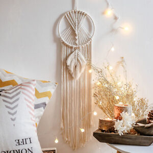 Bohemian Leaf Tapestry 20cm Round Hanging Wall Fringe Decor Cotton Cord Macrame