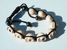Bracelet Tibetain Shamballa Ajustable 9 Skull Tetes de Mort Blanc Beige Cool