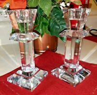 Pair -Vntg 24 %  Lead Crystal   Deplomb Pedestal  Base Candle Stick Holders