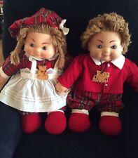 "House Of Lloyd Pair Plush Boy & Girl 22-23"" Dolls Scottish Twins Heather & Glen"