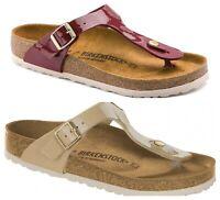 Birkenstock Gizeh Ladies Regular Fit Toe Post Sandals in Patent Bordeaux & Sand
