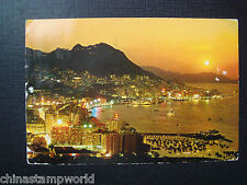 old China HK  postcard,evening view overlooking central and eastern districts HK