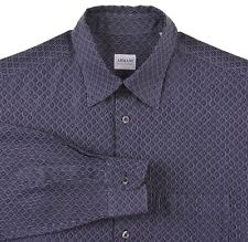 Armani Collezioni Navy Blue & Silver Woven Diamond GEOMETRIC Button Up Shirt M