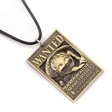 ONE PIECE Luffy Wanted Poster Necklace Bronze Metal Anime Manga