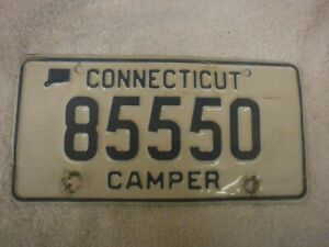 AMERICAN USA CONNECTICUT CAMPER VINTAGE 1970s # 85550 RARE NUMBER PLATE