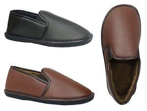 Men's House Slipper Indoor Outdoor Rubber Bottom PU Moccasin Slip On-0230