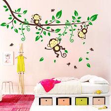 Wall Stickers Kids Room Baby Monkeys Swinging on Branch 6915