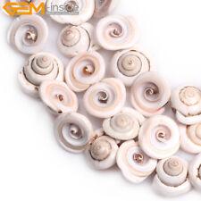 "17mm Whelk Shape Gemstone White Sea Shell Loose Beads Strand Jewelry Making 15"""