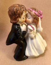 Vintage bisque porcelain kissing Bride and groom  Figurine cake topper Wedding