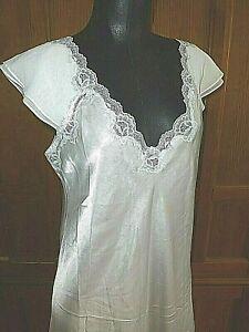 Vtg OSCAR De La RENTA Pearl White Silky Satin Lace SLIP Night Gown Lingerie M