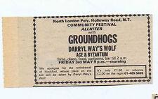 GROUNDHOGS / DARRYL WAY'S WOLF press clipping 1974 (4/5/74) 9X5cm