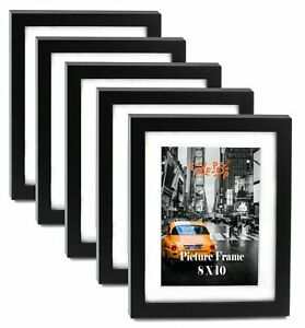"Cavepop 8x10"" Black Wood Textured Picture Frames Brand sale Hot New B5Q3"