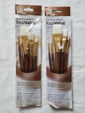 10 Princeton Art & Brush Co White Taklon Paintbrushes -Round Shader Wash- 2 Pkgs