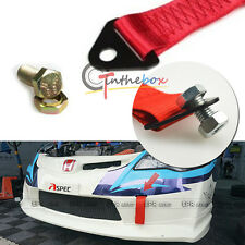 Sporty Red High Strength Racing Tow Strap Set for Front Rear Bumper Towing Hook