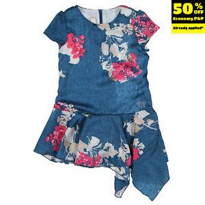 RRP €265 VDP VIA DELLE PERLE Flounce Dress Size 3Y Floral Asymmetric Hem