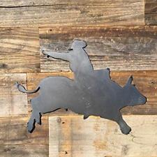 Rustic Home Cowboy Riding Bull Sign 14 X 12 Farmhouse Metal Kitchen Wall Decor