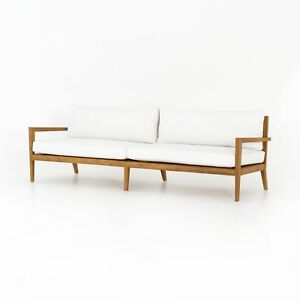 "94"" Simon Sofa Natural Solid Teak Wood 100% Acrylic Canvas White Matte Smooth"