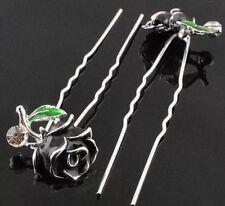 Gorgeous Black Enamel Alloy & Swarovski Crystal Flower Hairpins X 6