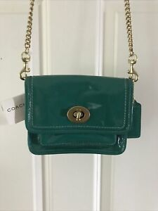 NWT Coach Reese 12795 Legacy Stripe Lining  Patent Leather Green Fabulous!