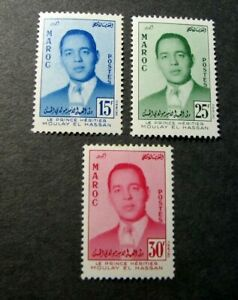 Morocco Stamp Scott#  16-18 Prince Moulay el Hassan 1957  MH L272