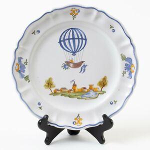"""Atelier de Segries Moustiers France Hot Air Balloon & Castle Lunch Plate 9.5"""""""