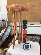 Antique Vintage Croquet Wooden Set on Rolling Cart Rare Wood Balls Mallets