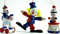Lot of 3 Vintage Circus Theme Painted Wood Christmas Ornaments Clowns Pony Drum