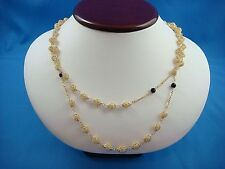 UNUSUAL 18K YELLOW GOLD 18-20 INCHES DOUBLE STRAND BEADED NECKLACE, 24.7 GRAMS