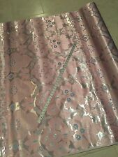 """Damask Brocade Baby Pink/ Silver In a Metallic B. Blue 60"""" By The Yard"""