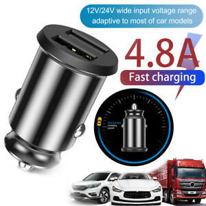 FAST Car Charger Dual USB UNIVERSAL 4.8A Charging QC 3.0 Cars Socket 12V-24V