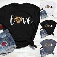Valentine's Day Women Summer Shirt Fashion Print Short Sleeve Casual Tops Blouse