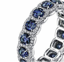 Certified Round Cut Sapphire-Diamond Eternity Ring 14K White Gold Cocktail Gift