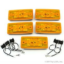 5 Rectangle Cab Light Roof Clearance Marker 6 LED Amber Truck Volvo Freightliner