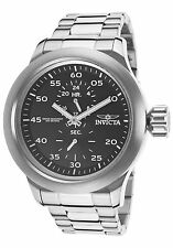 NEW Invicta 19491 Men's Russian Aviator GMT Black Dial Silver SS Bracelet Watch