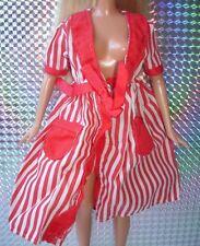 Vintage Barbie Sindy doll clothes-Rouge & Blanc à Rayures Robe De Chambre