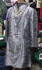 Stunning Japanese Grey Brown Blueish Shimmer Silk Nehru Collar Jacket